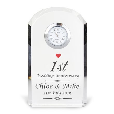 Personalised Crystal Clock - Heart Motif